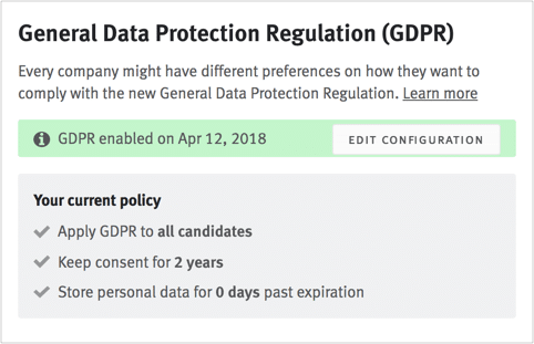 Lever GDPR Configuration Page
