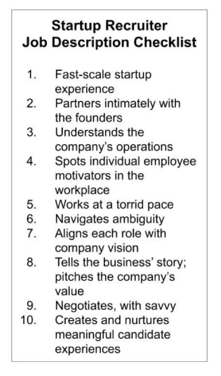 startup job description checklist