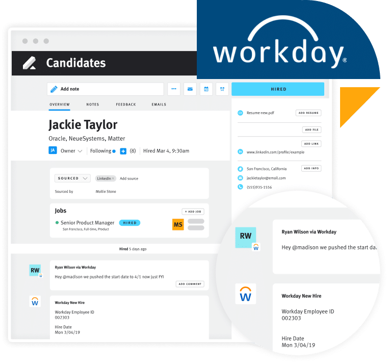 Advanced HR + Workday screen