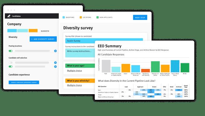 Product screen DEI survey Talent Relationship Management